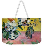 Flowers And A Japanese Print Weekender Tote Bag by Paul Gauguin