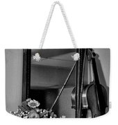 Flowers And Violin In Black And White Weekender Tote Bag