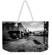 Flowers Flags And The Church In Black And White Weekender Tote Bag