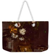 Flowers In A Vase And A Glass Of Champagne Weekender Tote Bag