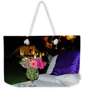 Flowers In A Vase On A White Table Weekender Tote Bag
