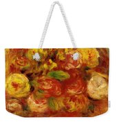 Flowers In A Vase With Blue Decoration Weekender Tote Bag