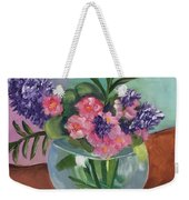 Flowers In Round Glass Vase Weekender Tote Bag