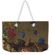 Flowers, Shells And Insects On A Stone Ledge Weekender Tote Bag