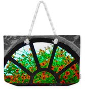 Flowers Through Basement Window At Monticello Weekender Tote Bag