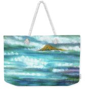 Flowing River With Briliant Sun Reflections And Stone, Closeup Painting Detail. Weekender Tote Bag