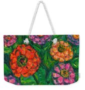 Flowing Zinnias Weekender Tote Bag