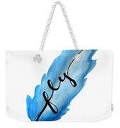 Fly Blue Feather Vertical Weekender Tote Bag