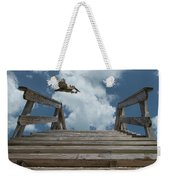 Fly By At The Beach - Brown Pelican And Rustic Stairs Weekender Tote Bag