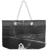Fly Fishing In Black And White Weekender Tote Bag