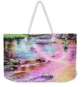 Fly Fishing In River At Sunrise Weekender Tote Bag