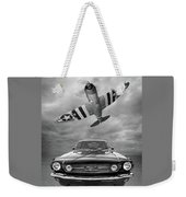Fly Past - 1966 Mustang With P47 Thunderbolt In Black And White Weekender Tote Bag