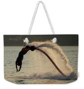 Flyboarder About To Enter Water With Hands Weekender Tote Bag
