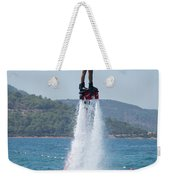 Flyboarder Giving Victory Sign With One Hand Weekender Tote Bag