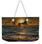 Flying Gulls At Sunset Weekender Tote Bag