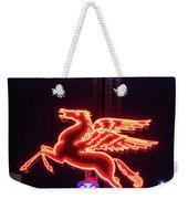 Flying Pegasus And Reunion Tower Night Weekender Tote Bag