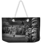 Flying Ravens And Totem Poles In Black And White Weekender Tote Bag