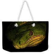 Focus - A Close Look At An Emerald Boa Constrictor Weekender Tote Bag