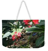 Focus In The Center - Black And White Butterfly Weekender Tote Bag