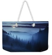 Fog Around The Mountain Top At Night Weekender Tote Bag