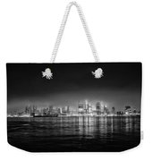 Fog Shrouded Midtown Manhattan In Black And White Weekender Tote Bag