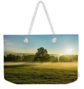 Foggy Autumn Morning On The Farm Weekender Tote Bag