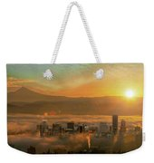 Foggy Morning Over Portland Cityscape During Sunrise Weekender Tote Bag