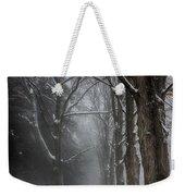 Foggy Vermont Winter Path Weekender Tote Bag