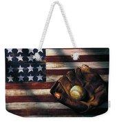Folk Art American Flag And Baseball Mitt Weekender Tote Bag