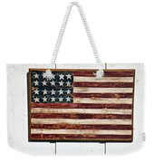 Folk Art American Flag On Wooden Wall Weekender Tote Bag by Garry Gay