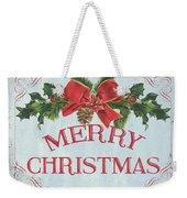 Folk Merry Christmas Weekender Tote Bag