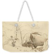 Fontainebleau, Figure Leaning Against A Rock Weekender Tote Bag