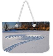 Footprint Snow Ring On A Frozen River In Winter At The Toronto I Weekender Tote Bag
