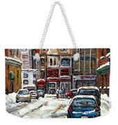 For Sale Original Paintings Montreal Petits Formats A Vendre Downtown Montreal Rue Stanley Cspandau  Weekender Tote Bag