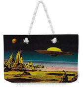 Forbidden Planet In Cinemascope Retro Classic Movie Poster Detailing Flying Saucer Weekender Tote Bag