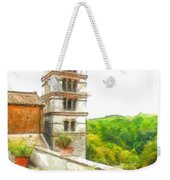 Foreshortening With Bell Tower And Wood Weekender Tote Bag