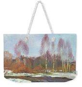 Forest River In Winter Weekender Tote Bag