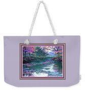 Forest River Scene. L B With Decorative Ornate Printed Frame. Weekender Tote Bag