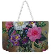 Forget Me Nots And Primulas In Glass Vase Weekender Tote Bag