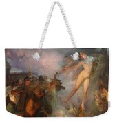 Fortuna Passes Guided By Wisdom And Economy She Spreads Gifts To Workers Weekender Tote Bag
