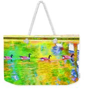 Four Canadian Geese In The Water 1 Weekender Tote Bag