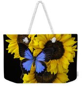 Four Sunflowers And Blue Butterfly Weekender Tote Bag