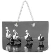Four White Pelicans In A Funny Pose Weekender Tote Bag