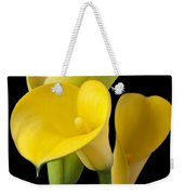 Four Yellow Calla Lilies Weekender Tote Bag by Garry Gay