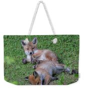Fox Cubs Chilling Out Weekender Tote Bag