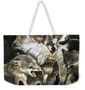 Fox Delivering Food To Its Cubs  Weekender Tote Bag by English School