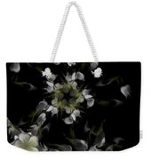 Fractal Floral Pattern Black Weekender Tote Bag