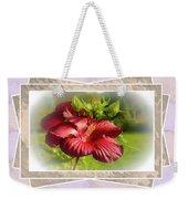 Framed Red Hibiscus Weekender Tote Bag