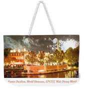 France Pavilion At Night With Fireworks, Epcot, Walt Disney Worl Weekender Tote Bag