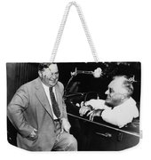 Franklin Roosevelt And Fiorello Laguardia In Hyde Park - 1938 Weekender Tote Bag